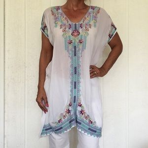 JOHNNY WAS EMBROIDERED EFFORTLESS BOHO DRESS TUNIC
